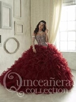 burgundy cheap quinceanera dresses ball gown sweetheart organza beaded crystals puffy sweet 16 dresses