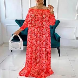 MD African Print Dresses For Women 2021 Summer New Fashion Boho Floral Dashiki Dress Long Abayas Large Size Boubou Ankara Outfit