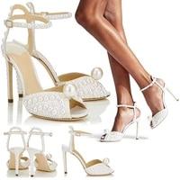 women wedding bridals crystal stiletto high heels ankle strap sandals sexy peep toe elegant evening party dress shoes 1 h sl 1