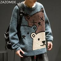 Свитер ZAZOMDE с мультяшным медведем, Мужская зимняя одежда, модный вязаный пуловер с длинным рукавом, свитер оверсайз, новинка 2020, хлопковое па...