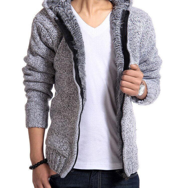 Suéter grueso mullido para hombre para niños Abrigo con capucha de talla grande de manga larga de punto suéter gris de invierno de punto de moda para hombre