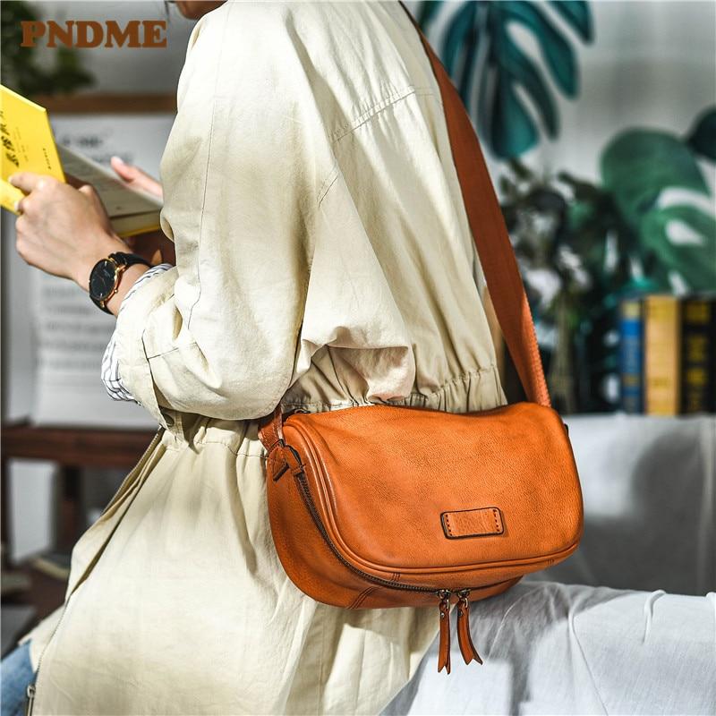 PNDME-حقيبة كتف نسائية من الجلد الطبيعي ، حقيبة كتف نسائية أصلية ، جلد البقر الطبيعي ، نمط عتيق ، غير رسمي ، للحفلات ، تحت الإبط