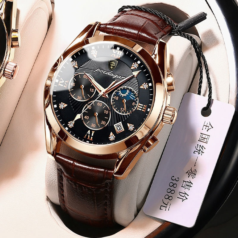 POEDAGAR Men Watches Rose Gold Leather 2021 New Fashion Waterproof Luminous Top Brand Luxury Mens Qu