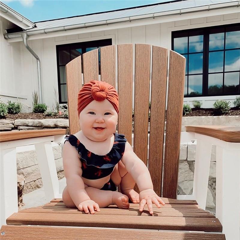 Toddler Kids Baby Headband Bow Cotton Knot Turban Headband  Hat Stretchy Beanie Girl Headwear  Baby Girl Hair Accessories