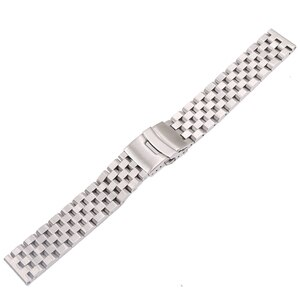 CARLYWET 22mm Silver Solid Links Replacement Watch Band Strap Bracelet Double Push Clasp For Seiko