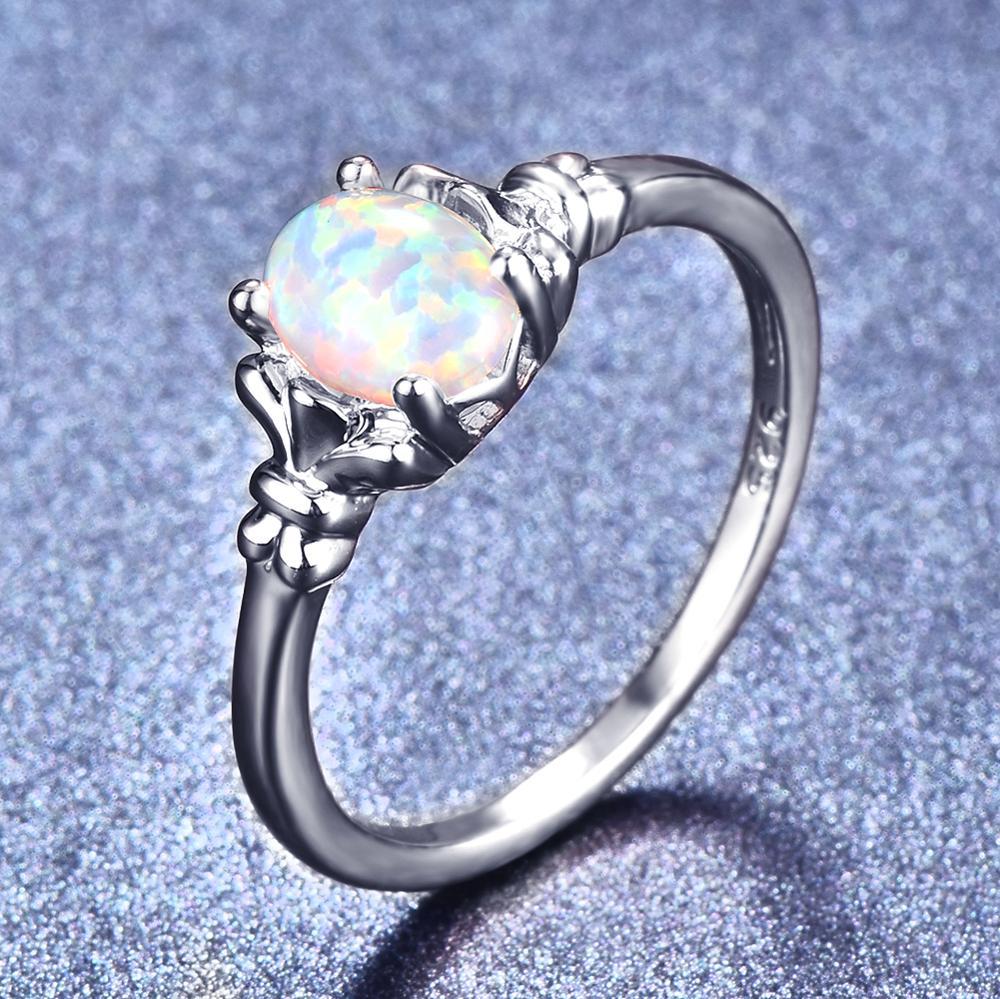 Blaike luxo branco ouro cheio oval opala anéis para mulher branco/azul/roxo fogo opala birthstone anel festa de casamento jóias