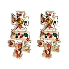 JUJIA винтажные блестящие золотые большие серьги висюльки с кристаллами для женщин ювелирные изделия в стиле барокко модные массивные серьги...