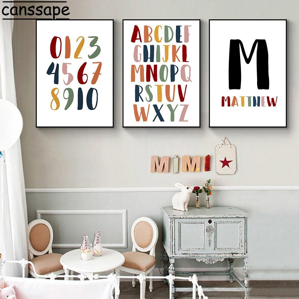 Nombre personalizado cartel educativo lienzo pintura alfabeto ABC Poster para guardería arte...
