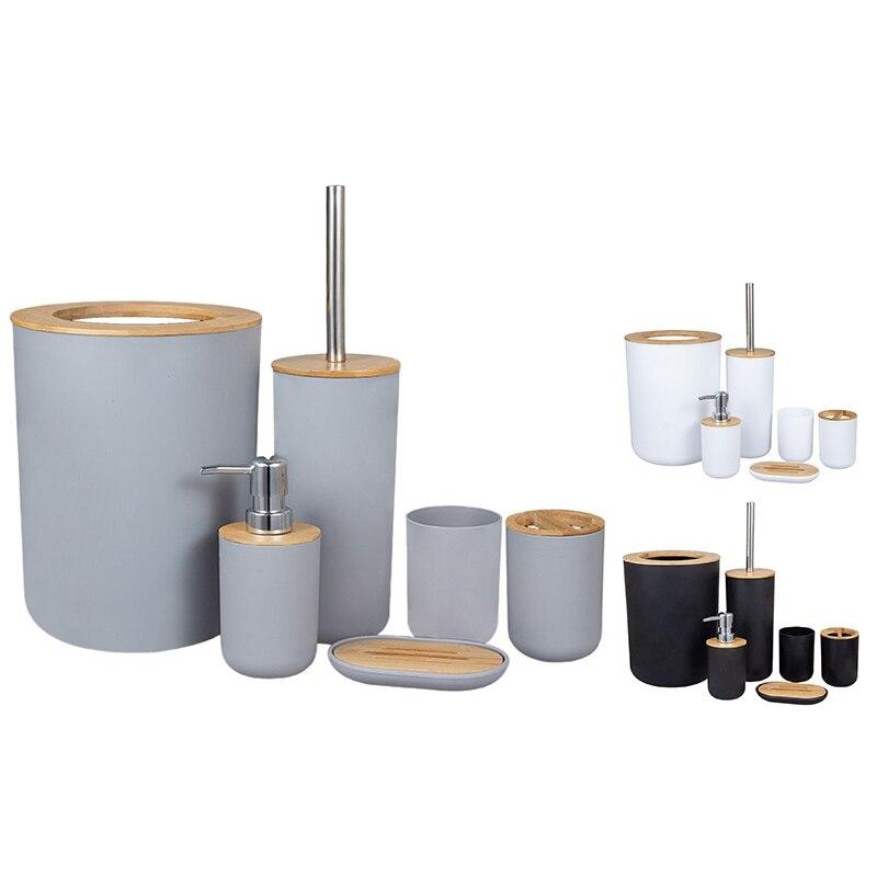 مجموعة ملحقات الحمام المصنوعة من الخيزران من 6 قطع ، مجموعة ملحقات المرحاض الصديقة للبيئة مع موزع غسول إلخ.