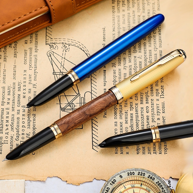 1-Piece Jinhao Fountain Pen Retro Hooded Nib 0.38mm Metal/Wood Screw Inking Pens for Writing School Office Supplies Stationery
