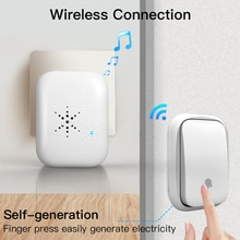 Self Powered Waterproof Wireless Doorbell Smart Home Without Battery Doorbell With Ringtone 150M Rem
