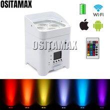ديسكو الطرف اللاسلكية مصباح موازي المستوى 4x18 واط الهاتف واي فاي عن بعد بطارية الطاقة uتحكم الزفاف DMX الصوت RGBWA UV LED غسل ضوء LED الاسمية