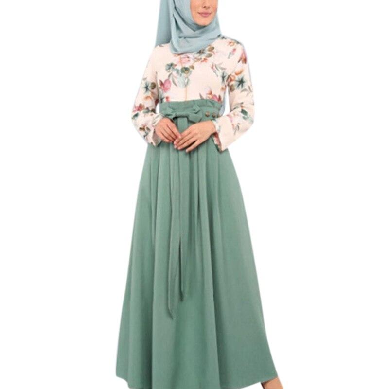 Ramadan muçulmano vestido islam oriente médio árabe roupas femininas moda vestido floral longo eid vestido de festa # w