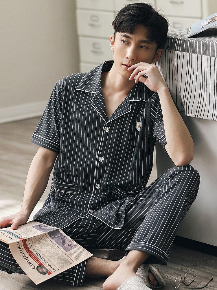 100% 25 хлопок пижама для мужчин лето короткие рукава пижама пуговицы полосатая пижама хомбре 2шт хлопок пижама пижама плюс размер 4XL