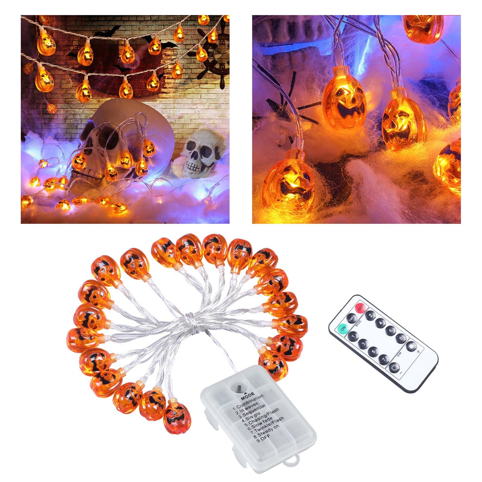 abobora sequencia de luz 8 modo com remoto ao ar livre halloween pendurado festa