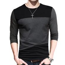 BROWON Autumn Korean Men T Shirt Vintage Style Patchwork Black&Gray O-Neck Long Tshirt Men Clothing 2021 Plus Size M-5XL