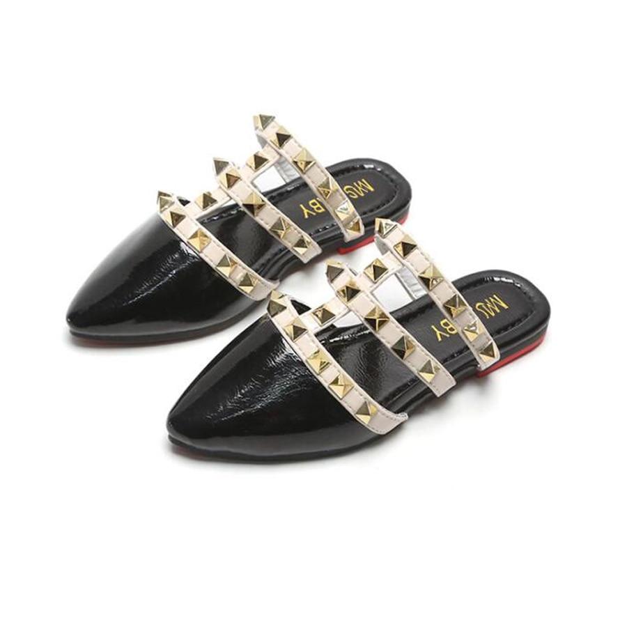 Sandalias para niños niñas 2020 verano romanas remache princesa zapatos niñas pequeñas zapatos zapatillas al aire libre moda niños Sandalias planas