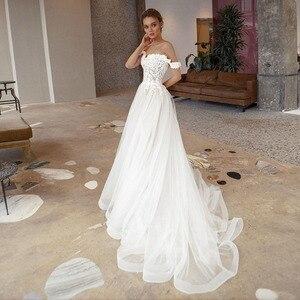 Boho Wedding Dresses off the Shoulder Appliques Lace Wedding Gown Backless Simple Elegant Bride Dress Vestido De Noiva