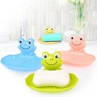 cute plastic wall mounted frog shaped soap dish organizer with sucker kids bathroom shower soap holder rack