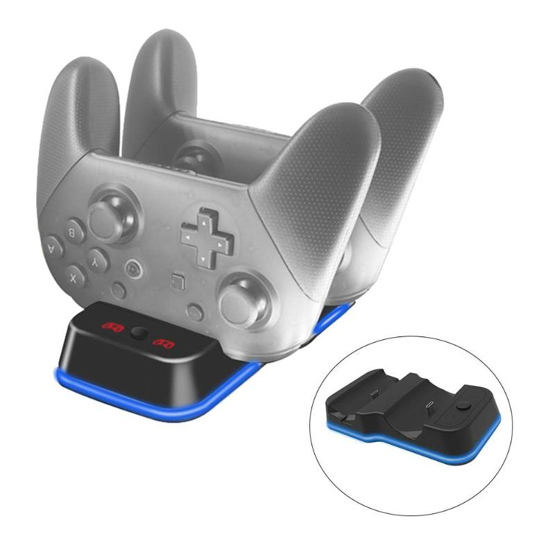 Para controlador de Nintendo Switch Pro cargador USB Dual portátil Estación De Carga soporte de controlador de juego para Puerto tipo C