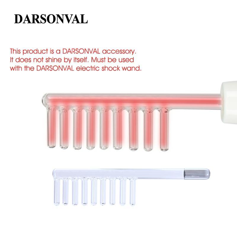 DARSONVAL 1 Uds de alta frecuencia Facial peine tubos de vidrio pelo herramienta de masaje de electrodo varita de naranja Ray piel de la cara Dispositivo de cuidado
