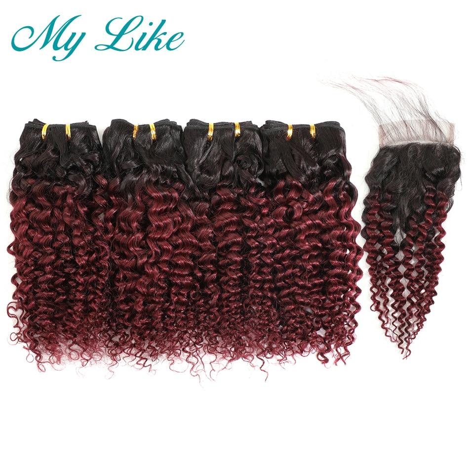 cabelo encaracolado brasileiro ombre com fecho 50 g peca pacote curto 1b 99j borgonha