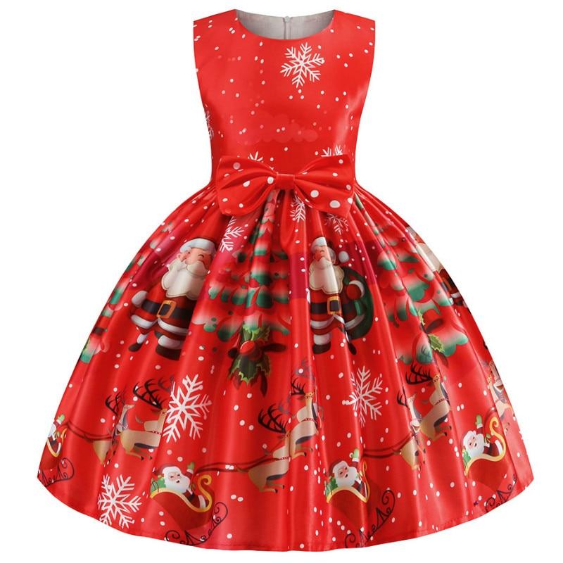 Рождественское платье для маленьких девочек; Костюм; Новогодние вечерние платья принцессы для девочек; Детская одежда; Infantil Vestidos; Красная о...