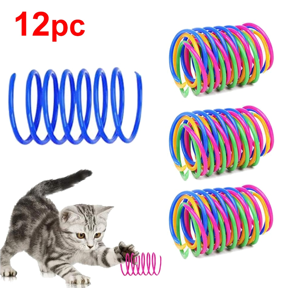 Cat Spring Toy Colorful Plastic Spiral Interactive Cat Toy Funny Play Game Cat Teaser Product Toy For Kitten Pet Accessory Goods