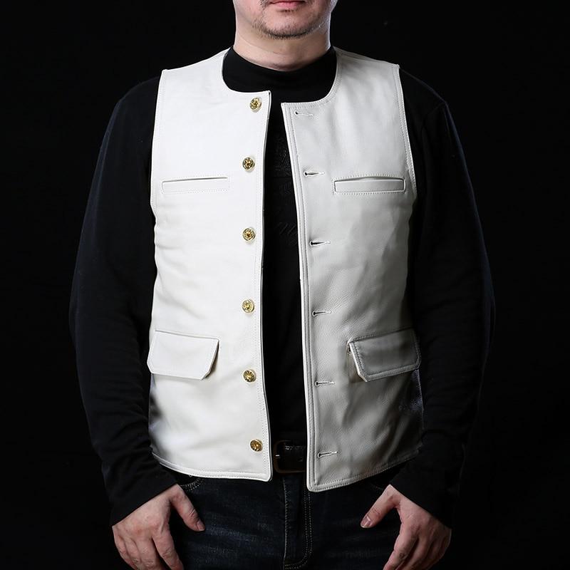 AF Super Offer! Read Description! Asian Size Super Quality Cowhide Vest Men's Cow Leather