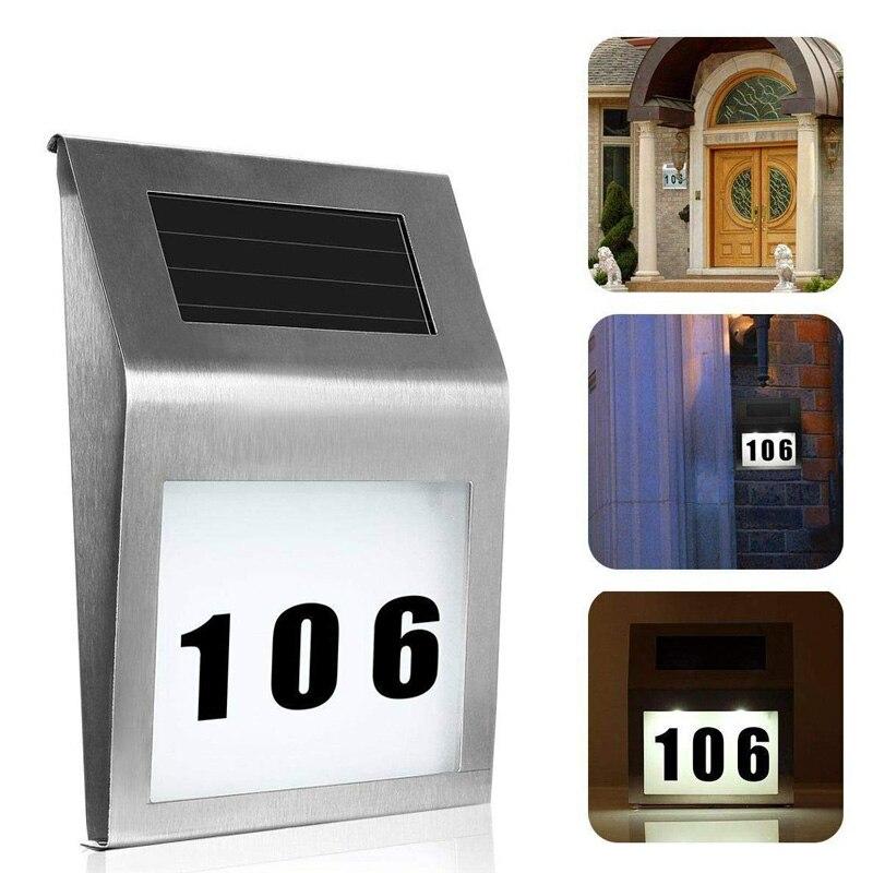 Luz Solar LED de 2 ledes para puerta y números, para exteriores, impermeable, lámpara para escaleras, luces LED de ahorro de energía, lámparas de colector Solar para patios domésticos