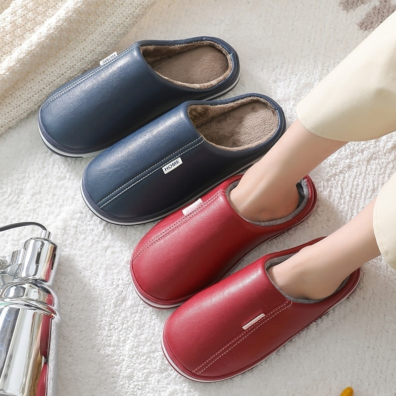 Men Women Slippers New Winter PU Leather Slippers Warm Indoor Slipper Waterproof Home House Shoes Men Warm Leather Slippers