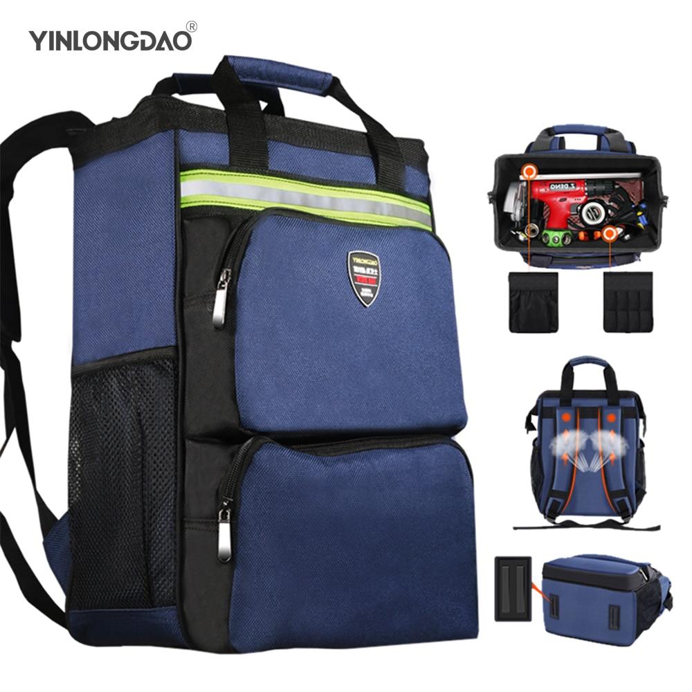 Многофункциональная наплечная сумка для инструментов электрика, переносной плотный износостойкий холщовый рюкзак для технического обслу...