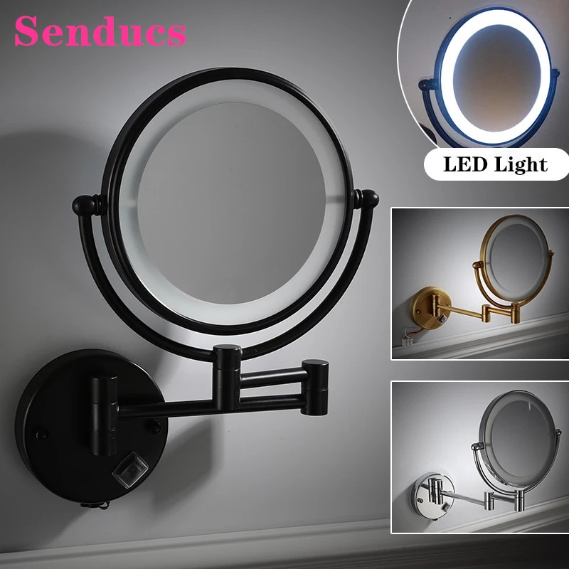 LED مرايا الحمام من جودة النحاس مجهزة ضوء حمام المرايا ماتي الأسود ماكياج مرآة مستديرة فاخرة مكبرة حمام المرايا
