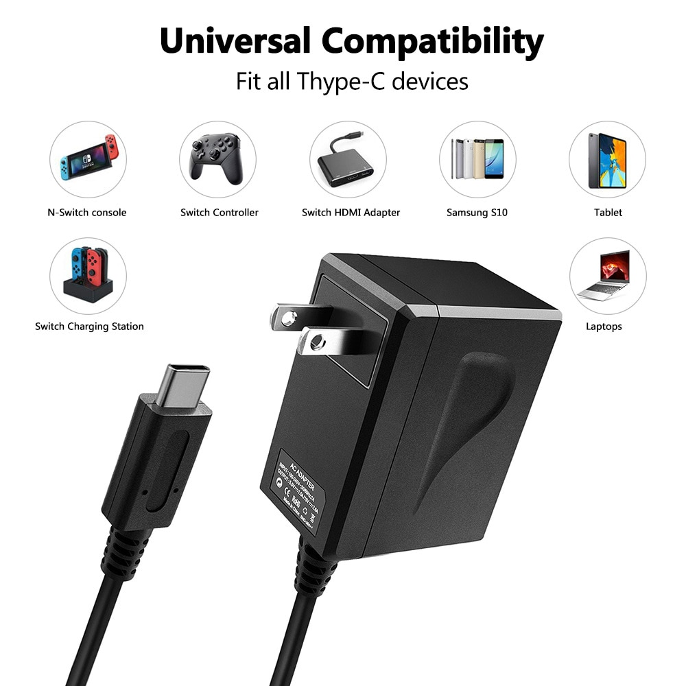 100PCS EU & US Plug AC Adapter For Nintend Switch Game Console Wall Travel Home Charger 15V 2.6A Fast Charging USB Type-C enlarge