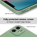 IPhone 12 11 प्रो मैक्स मिनी XS X XR 7 8 प्लस SE 2 स्लिम कैंडी कलर सॉफ्ट कवर के लिए लक्जरी मूल स्क्वायर लिक्विड सिलिकॉन फोन केस