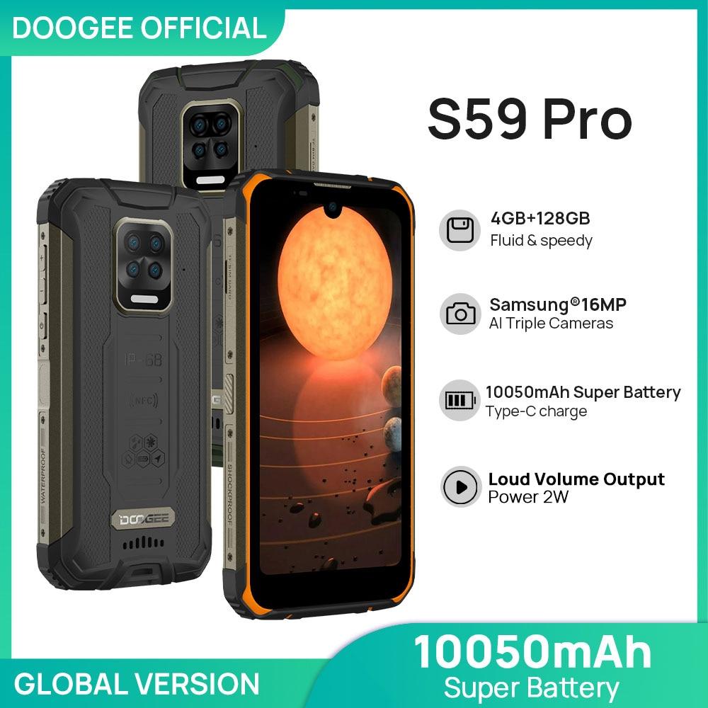 DOOGEE S59 Pro Smartphone 10050mAh Super Battery IP68/IP69K 4+128GB NFC Rugged Smart phone 2W Loud Volume Speaker Cellphones
