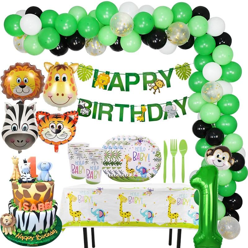 Temática de jungla decoración de fiesta de cumpleaños, Animal de zoológico, globos verdes de papel de aluminio, vajilla de fiesta de Safari, vaso, plato y banderín para Cumpleaños de Niños
