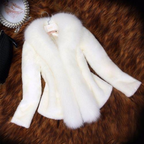 women fur coats white black new fur coat women's mid-length fur coat short coat slim clothing lady coats