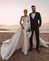 new arrivals long wedding dresses with one shoulder long sleeves wedding dress vestido de noiva mariage bridal gown