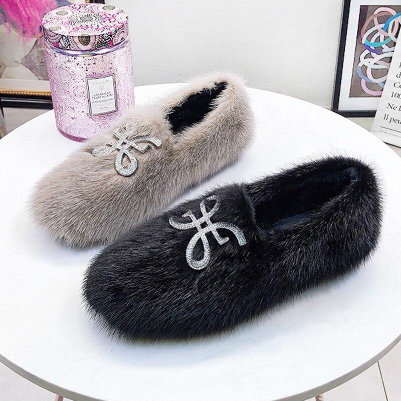 Piel de visón Mujer invierno pisos Slip On Crystal Creepers negro fuera zapato mocasines rojo señoras otoño calzado gris Mujer