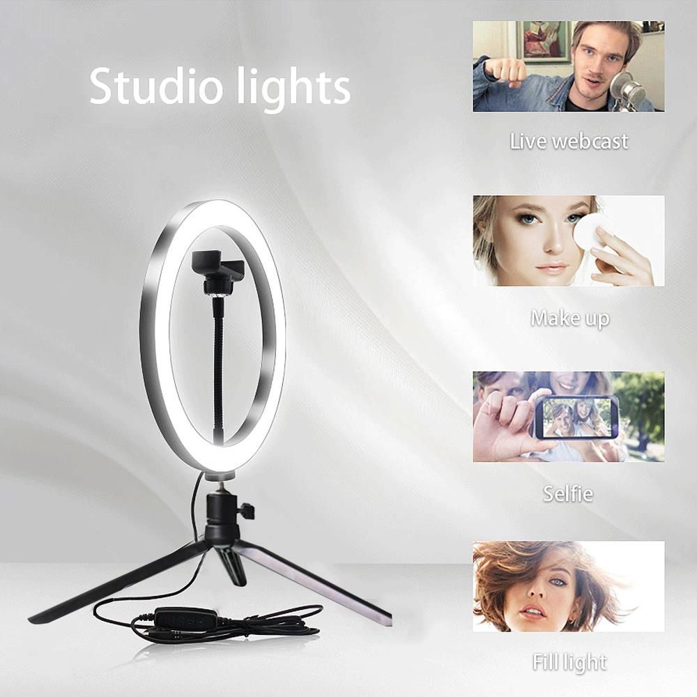 Lámpara de luz de Video 2 en 1 fotografía soporte para Selfie Anillo de luz LED belleza regulable foto Sudio teléfono anillo relleno maquillaje ligero