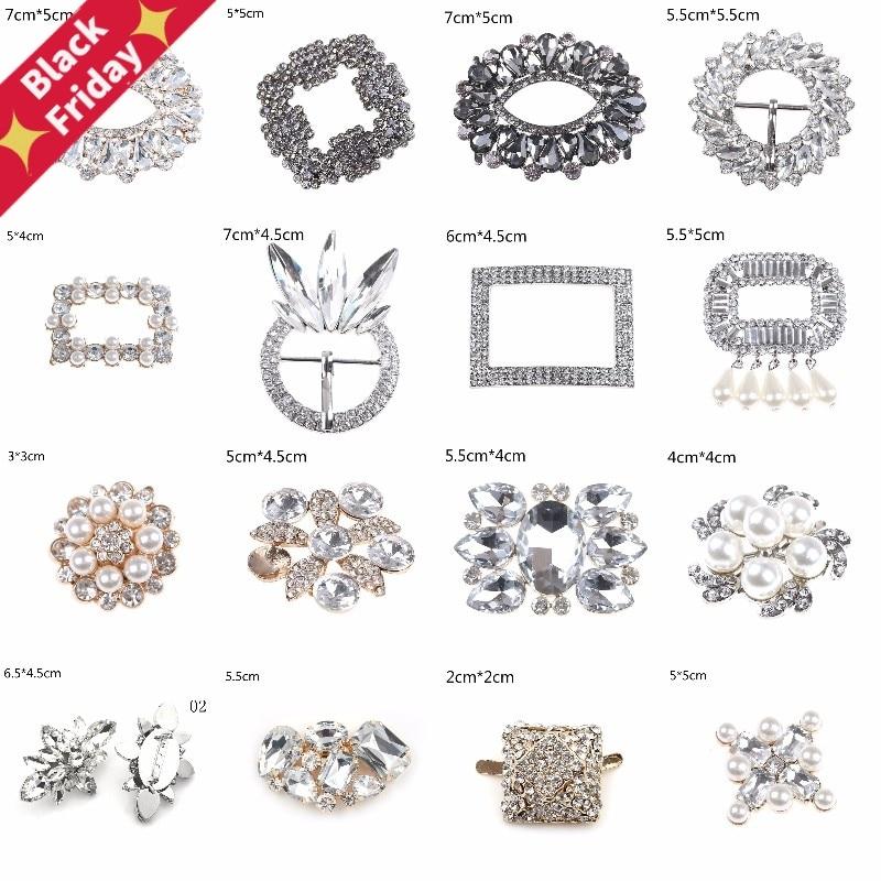 1PCS Crystal Shoe Clip Decoration Faux Pearl Shoe Clips Decorative Accessories Bridal Shoes Rhinestone Clip Buckle 24Styles