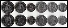 6 unids/set UNC del Caribe Oriental moneda original no circulada