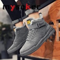 winter mens fashion sports shoes cold and warm mens casual shoes comfortable and velvet wear resistant and velvet hiking shoes