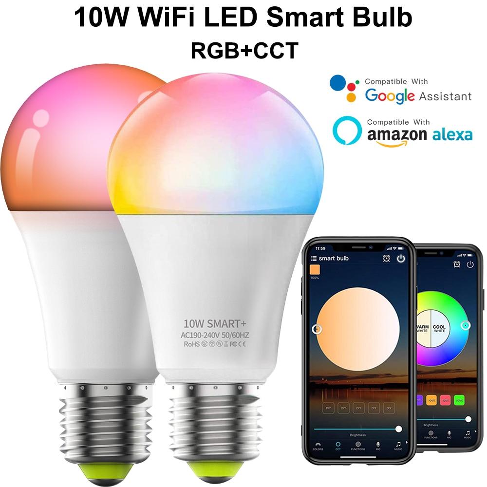 Smart WIFI+Bluetooth Control LED Light Bulb E27 LED 10W Alexa Smart bulb Light LED Smart Dimmable Color Change Brightness D30