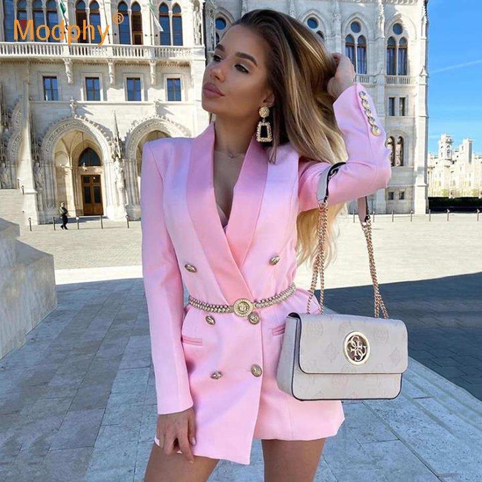 Spring Autumn Ol Solid Blazer For Women Pink Sexy Long Sleeve Double-Breasted Slim Coat Top Female 2