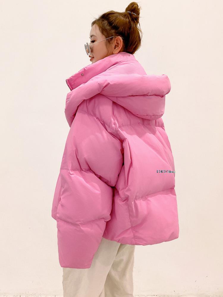 الشتاء النساء الصلبة سميكة الدافئة سترات كبيرة الحجم فضفاضة أسفل سترة الإناث 2021 الكورية أنيقة مقنعين سترة قطن معاطف الشتاء