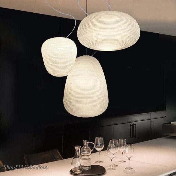 الشمال الإبداعية قلادة أضواء حليبي الأبيض زجاج Whorls المطبخ مصابيح معلقة لوميناريا الطعام غرفة المعيشة ديكور المنزل تركيبات