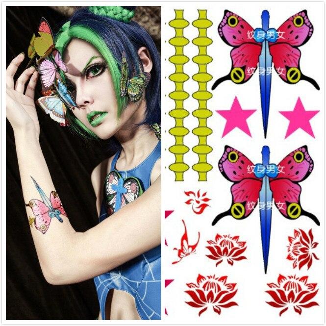 Jojos Bizarre Adventure Jolyne Kujo Schmetterling Stern Temporäre Tattoo Aufkleber 1 stücke Halloween Cosplay Requisiten Zubehör