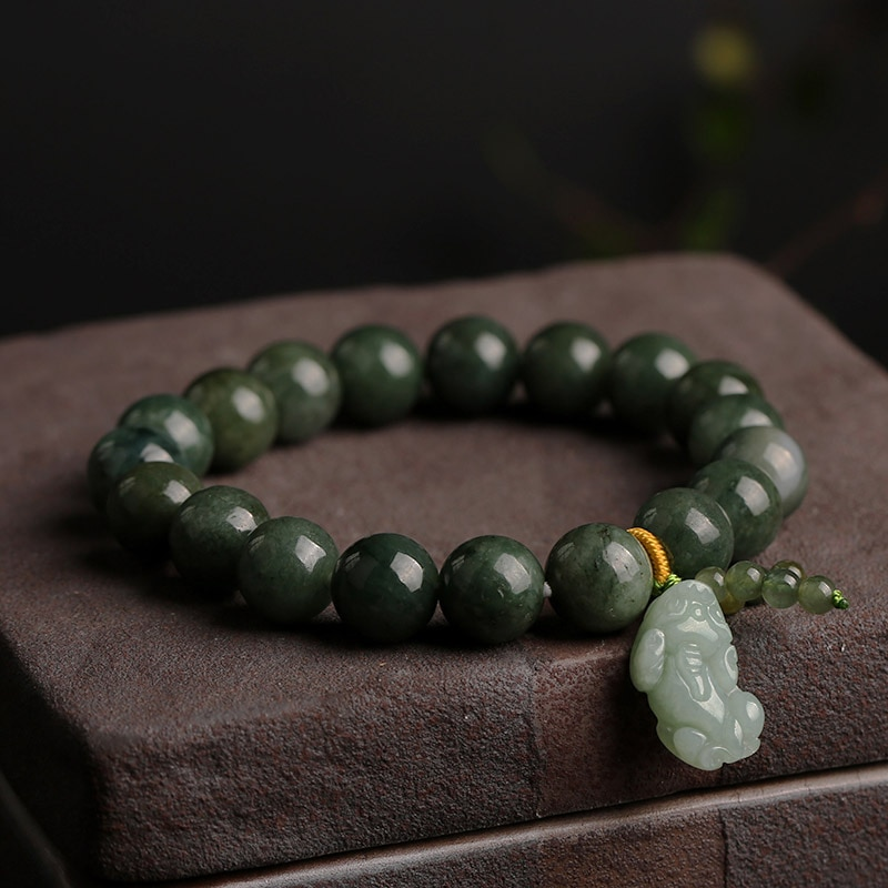 Natural Grade Jade Jade Round Beads With Hand-Carved Green Button Bracelet Men And Women Adjustable
